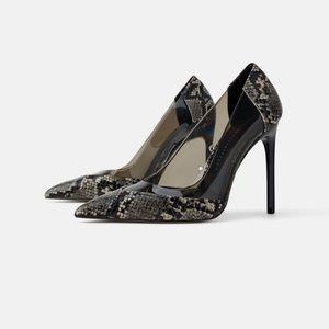Zara Snake Print Heels - Gently Worn